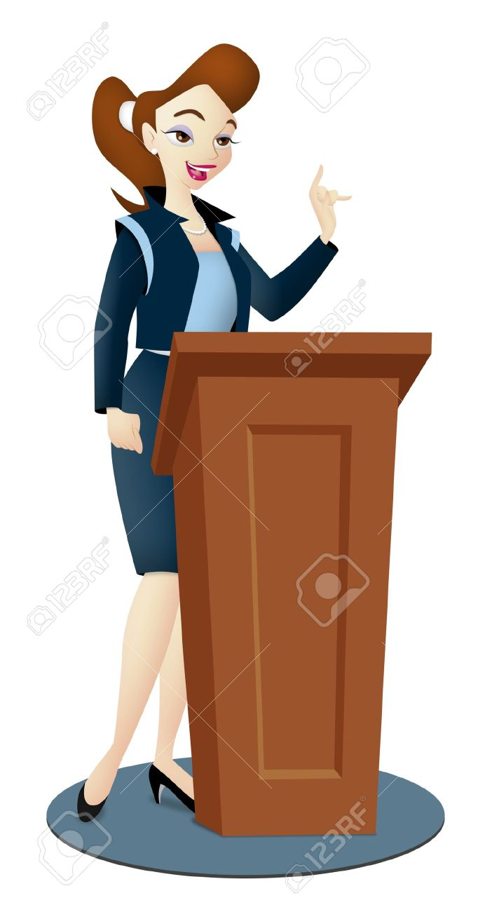 13991275-Lady-speaker-in-business-suit-with-podium--Stock-Photo-speaking-cartoon-public
