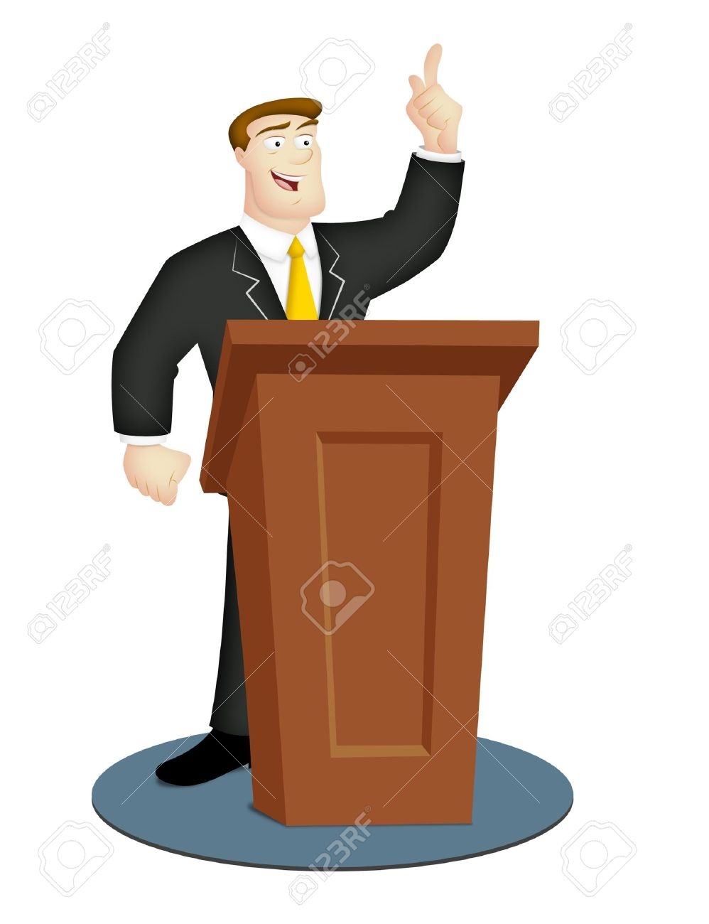 9833050-Cartoon-speaker-in-business-suit-with-rostrum--Stock-Photo-public